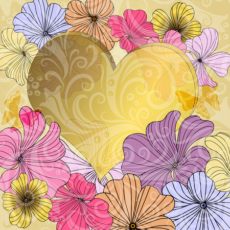 butterfly stationary: Old paper with gold heart and colorful flowers and translucent vintage pattern  Illustration