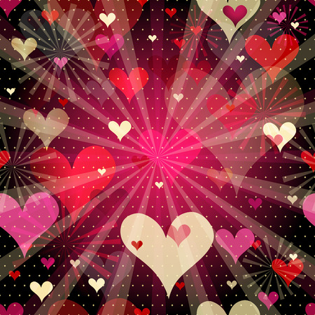 Vivid seamless valentine pattern with  translucent gold and red hearts and rays (vector EPS 10) Vector