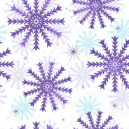 Seamless Christmas grunge pattern with translucent snowflakes (vector EPS 10) Vector