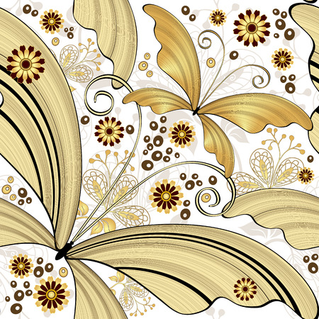 Seamless white vintage pattern with gold striped butterflies (vector) Vector