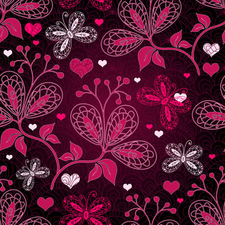 Dark purple seamless valentine pattern with butterflies and hearts (vector) Vector