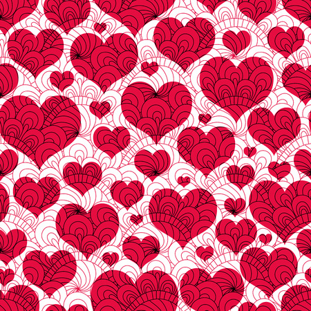 vector hearts: Seamless valentine background with red hearts and lacy vintage pattern (vector EPS 10)
