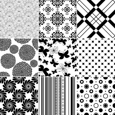 Collection seamless vintage monochrome patterns (vector) Vector