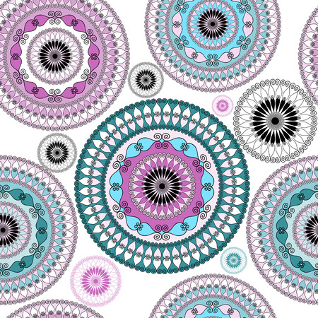 Vintage seamless white pattern with colorful lacy circles (vector) Stock Vector - 24025834