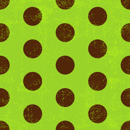 Seamless grungy green pattern with brown polka dots  Vector