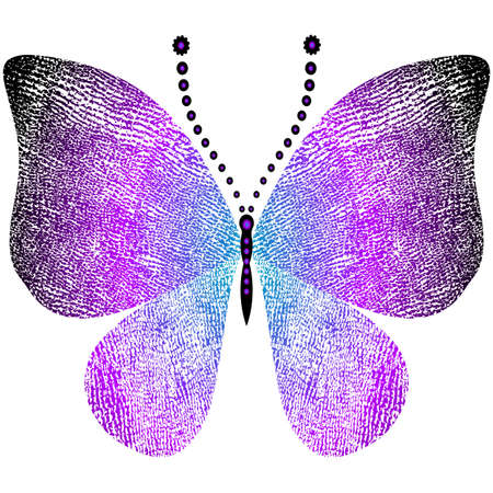 Fantasy grungy vintage butterfly isolated on white (vector) Vector