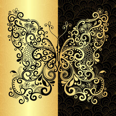 Seamless vintage pattern with fantasy lacy gold-black butterfly (vector EPS 10) Vector