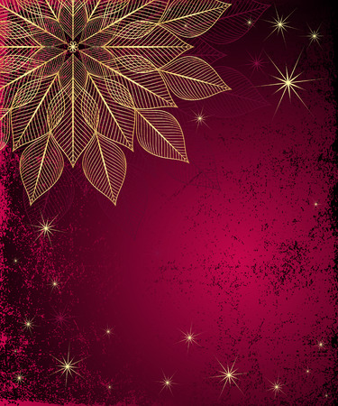 Dark red grungy Christmas frame with gold snowflake and stars (vector) Vector