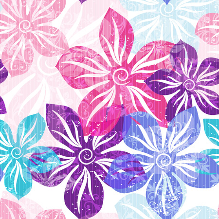 violet flower: Seamless floral spring pattern with pastel translucent colorful flowers and curls  Illustration