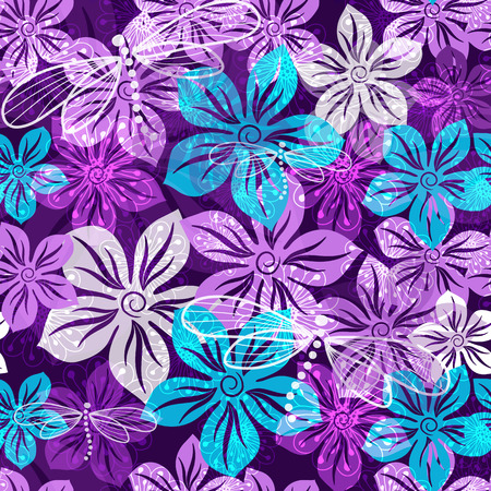 Seamless vivid floral spring pattern with translucent violet-blue-white flowers  Vector