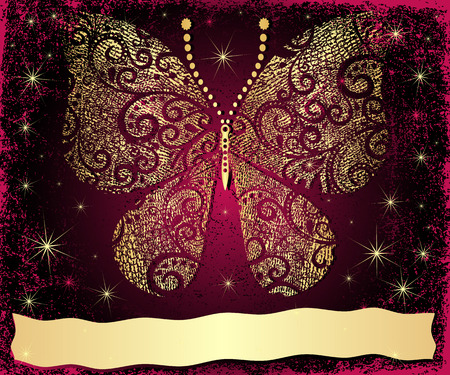pink butterfly: Purple grungy Christmas frame with gold grungy butterfly and gold wave strip (vector)