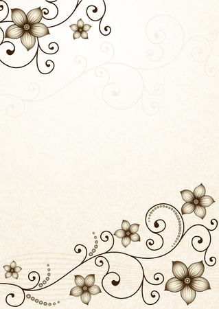 Old yellow paper with floral pattern and silver flowers (vector EPS 10)