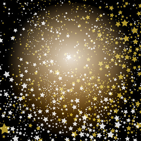 silver stars: Christmas decorative background with silver and gold stars (vector EPS 10)