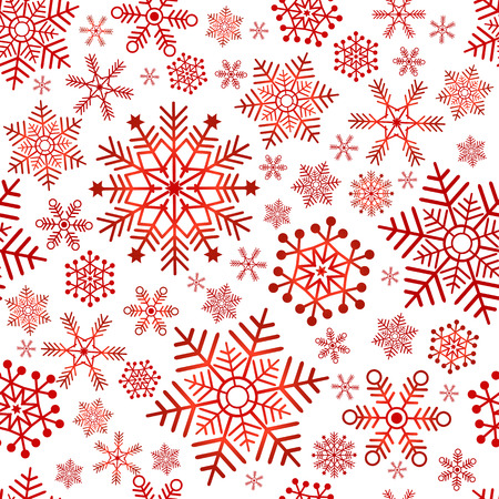 chaotic: Seamless christmas pattern with red classic snowflakes (vector) Illustration