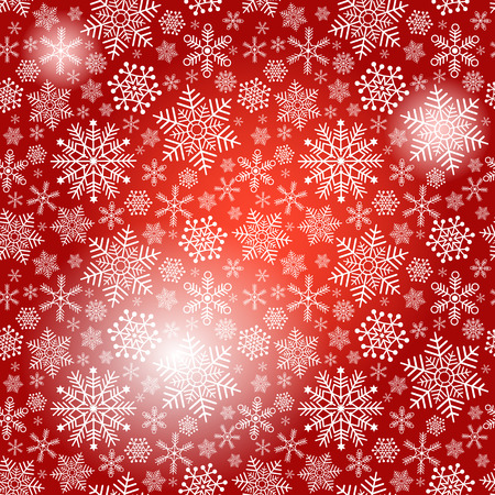 Seamless red christmas pattern with white snowflakes and spots (vector eps 10) Vector