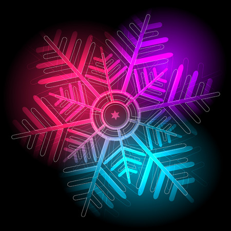 Glowing colorful snowflake on a black background (vector eps 10) Vector