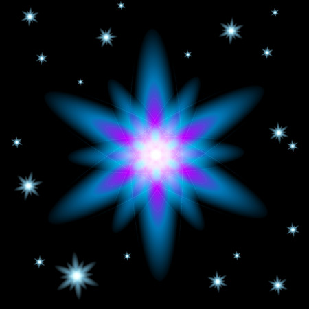 Bright glowing Christmas star in the dark sky around other stars (vector EPS 10) Vector