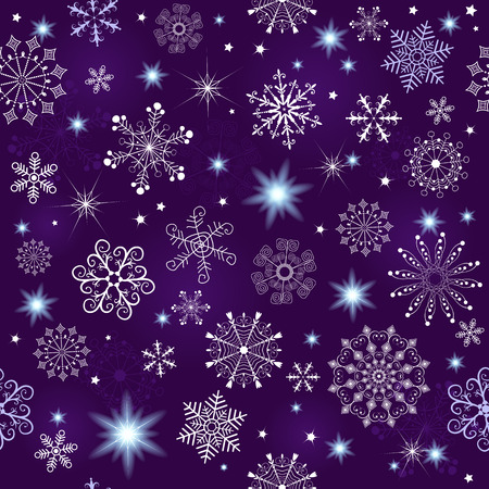 Seamless violet christmas pattern with snowflakes and stars(vector eps 10) Vector