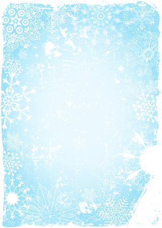 Blue grungy christmas card with snowflakes and spots (vector eps 10) Vector