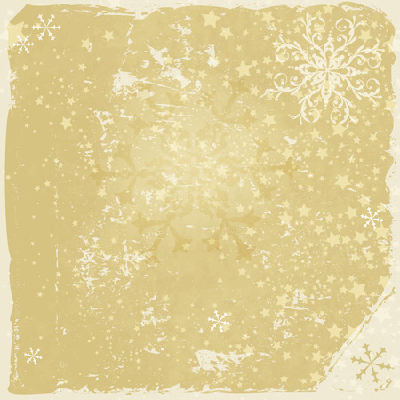 Grungy christmas frame with translucent snowflakes and stars (vector eps 10) Vector