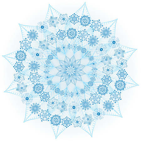 Big blue glowing snowflake on white (vector) Illustration