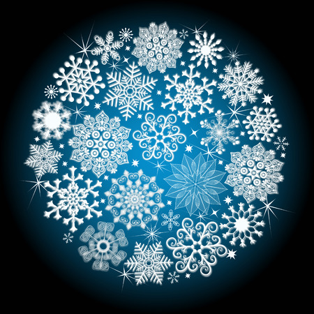 glowing ball: Christmas glowing ball with snowflakes and stars (vector eps 10)