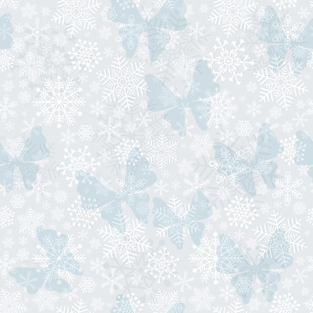 silvery: Seamless silvery Christmas pattern with snowflakes and butterflies