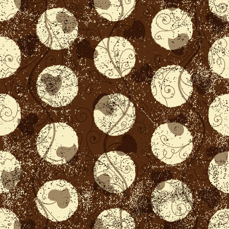 Seamless grungy brown pattern with white polka dots (vector eps 10) Vector