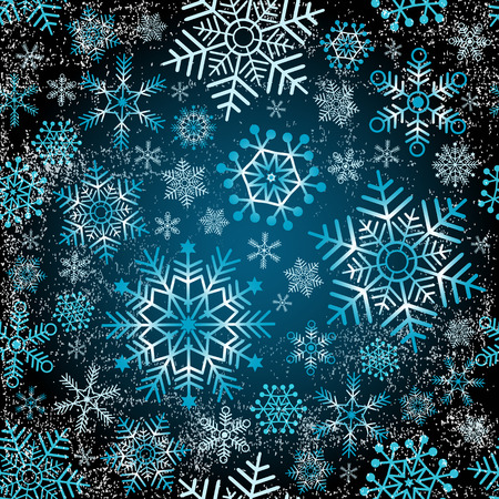 Seamless christmas grunge pattern with snowflakes  Vector