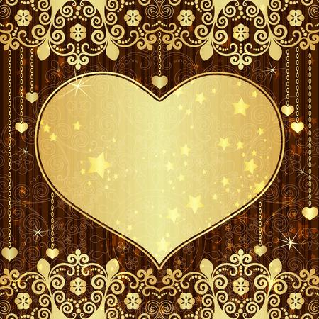 golden heart: Vintage valentine frame with big gold  translucent heart and stars