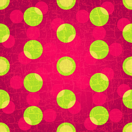 Seamless grungy purple pattern with green and pink polka dots  (vector EPS 10) Vector