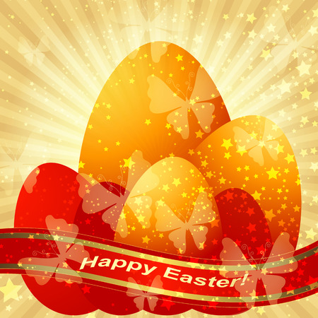 Easter greeting gold card with Easter eggs and ribbon and rays   Vector