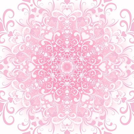 Gentle white-pink filigree valentine floral frame  Vector