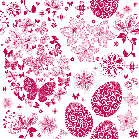 Monochrome Easter seamless pattern with flowers, eggs and butterflies Vector