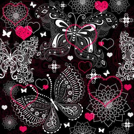 Seamless valentine floral pattern with lacy butterflies (vector) Vector