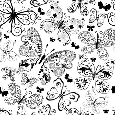 Monochrome black seamless pattern with lacy butterflies (vector) Vector