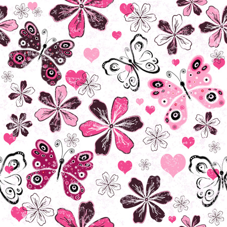 Grunge white valentine seamless floral pattern with butterflies (vector) Vector