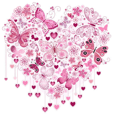 Valentine pink big heart with butterflies isolated on white (vector) Illustration