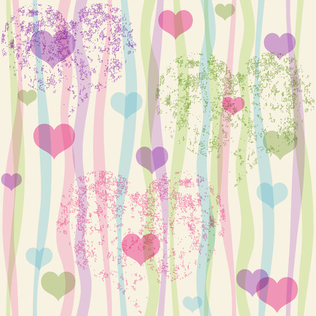 Seamless valentine pastel grunge pattern with translucent colorful strips and hearts   Vector