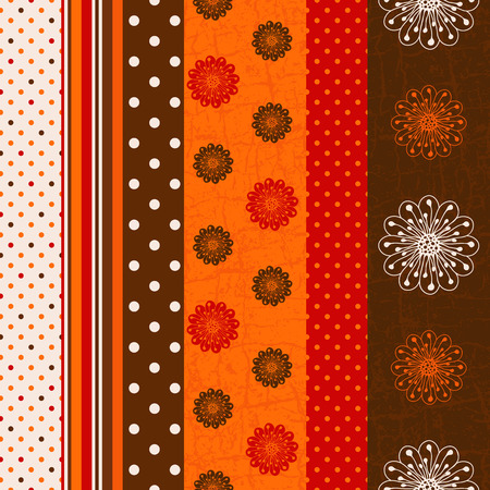 Seamless grungy striped pattern with polka dots and flowers (vector) Vector