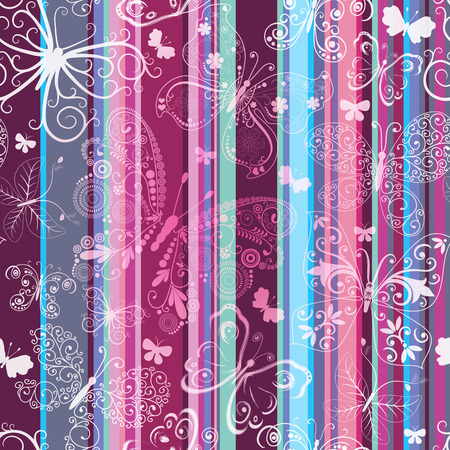 Seamless striped vintage pattern with translucent lacy butterflies   Vector
