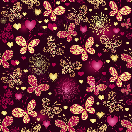 Valentine seamless dark purple pattern with gold butterflies and glowing hearts  vector  Vector