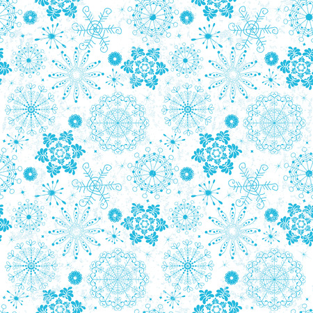 Seamless christmas grunge pattern with blue snowflakes (vector) Vector