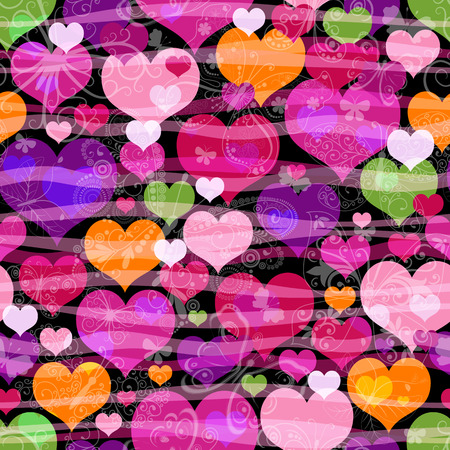 Motley seamless pattern with colorful translucent butterflies hearts and silhouettes (vector eps 10) Vector