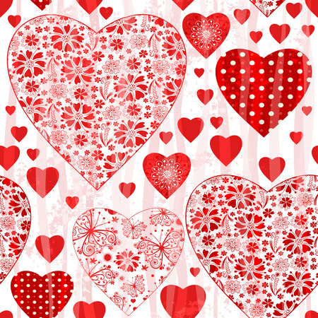 Grungy seamless valentine pattern with floral red hearts and wave  translucent strips (vector eps 10) Vector