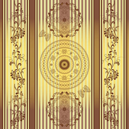 Seamless golden brown striped pattern with lacy circles and branches (vector) Vector