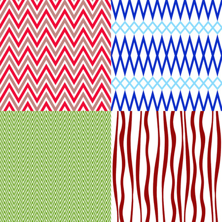 Set colorful vintage patterns with wave strips (vector) Vector