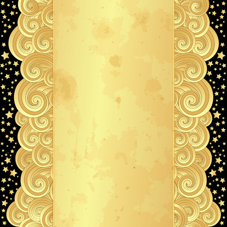 spotty: Golden frame with curly waves, old spotty paper and stars (vector eps 10) Illustration