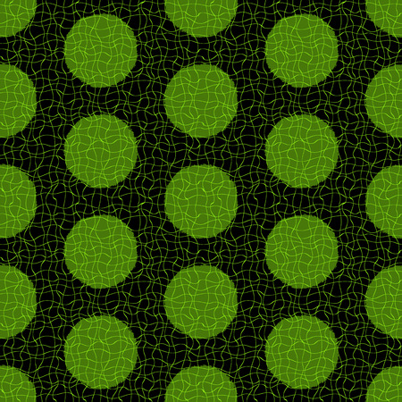 twill: Seamless grungy dark pattern with green polka dots with a grid of thin translucent wavy lines  Illustration