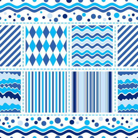 whiteblue: Seamless white-blue pattern with wave strips and balls (vector) Illustration